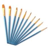 Conjunto de pincel azul 10 unidades Pincéis de pintura profissional de arte em nylon cabo de madeira para artistas crianças adultos