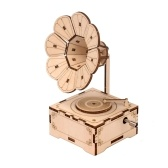 Retro Phonograph 3D Wooden Puzzle Hand Crank Music Box Vintage Gramophone DIY Assembly Craft Model Kit Home Decoration Educational Gift for Birthdays Christmas Holiday for Students Boys Girls Adults to Build