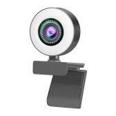 HD 1080P Full Webcam AF Web Camera integrata Microfono con messa a fuoco automatica con luce ad anello regolabile
