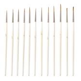 Detail Paint Brush Set Miniature Nylon Hair Paintbrushes for Fine Detailing Acrylic/ Watercolor/ Gouache/ Pigment/ Oil Art Painting, 12Pcs/ Set