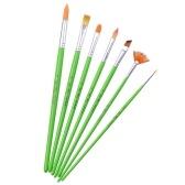 7pcs/set Multipurpose Paint Brushes Set Nylon Hair Green Wooden Handle Paintbrush