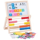 Multi-Functional Wooden Abacus Tool with Double-Sided Drawing Board Seven-Piece Puzzle