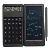 Складной калькулятор и 6-дюймовый ЖК-планшет для письма Цифровой блокнот для рисования 12-значный дисплей с кнопкой стирания стилуса для детей Взрослые Домашний офис Школьное использование