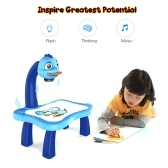Intellectual Children Painting Board Table Art Desk Easel with Music Lantern Slides Color Pens Drawing Book Perfect Gift for Kids