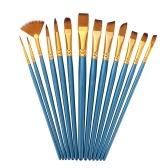 13 pezzi Set di pennelli professionali per capelli in nylon Manico in legno Pennelli per artisti per bambini Adulti Principianti per olio acrilico Acquerello Guazzo Unghie per il corpo Dettaglio del viso Artigianato in miniatura Disegno Pittura