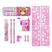 Универсальный школьный набор канцелярских принадлежностей, ластик для карандашей, точилка для карандашей, линейка, школьные принадлежности, подарок для детей, девочек