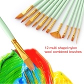 12pcs Paint Brushes Set Kit Multiple Mediums Brushes with Nylon Hair for Artist Acrylic Aquarelle Gouache Watercolor Oil Painting for Great Art Drawing Supplies