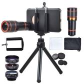APEXEL Supporto per telefono Selfie Stick Treppiede + Obiettivo per telefono universale Clip-on 12X Teleobiettivo Cellulare Zoom ottico Telescopio per iPhone Samsung