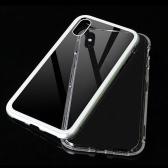 Caja de teléfono móvil con borde de metal de cristal endurecido cubierta de protección magnética de parachoques de la cubierta del parachoques de aluminio de lujo para Iphone X