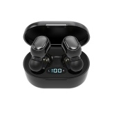 TWS BT5.0 Headset HIFI Sound Quality Wireless Earphone Multi-function Button Waterproof Portable Headphones with Large Capacity Black