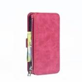 Para iphone 6 6 s 6 p 6 sp 7 8 7 P 8 P X Multifuncional Zipper Carteira Ímã Caso de Cartão de Telefone de Proteção Destacável Virar Capa De Couro PU Elegante Anti-risco