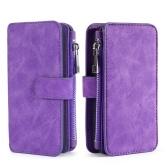 Per Samsung Galaxy S7 S8 S8 Plus S9 S9 Plus Note 8 multifunzione Zipper Portafoglio magnete Custodia protettiva per scheda del telefono Flip staccabile PU Custodia in pelle Elegante antigraffio