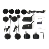 Беспроводное радио мотоцикла BT Walkie-talkie V6-1200 Водонепроницаемая шумозащитная ветрозащитная домофон