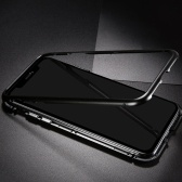 Caixa de telefone móvel de aro de metal endurecido vidro adsorção magnética proteção capa de smartphone bumper casos de moldura de alumínio de luxo para iphone x