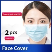 2 Pcs Disposable Mask Non-Woven Masks 3-Layer Comfortable Sanitary Mask Anti-dust Mouth Face Fask Dust Pollen Allergies Filter for Flu Season Dailywear Blue