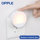 Xiaomi Youpin Opple Plug In Night Light LED Household Lamp Auto Light Sensing Sleep Light No Blue Light 3000K Pour Chambre Allée Couloir Escaliers Chambre De Bébé 220 V 2 pcs