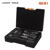JIUXUN 166 in 1 Hand Tools Set Household Repair Hand Tool Kit with Toolbox Storage Case Wrench Hammer Tape Plier Maintenance Screwdriver Storage Box Repair Case Wrench