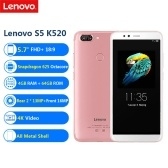 Lenovo S5 K520 Face ID Smartphone 5.7inch FHD+ 18:9 4G RAM 64G ROM Snapdragon 625 Octa Core Android 8.0 Dual Rear 13MP + Front 16MP 4K Video 4G-LTE Mobile Phone