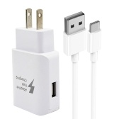 Quick Charging USB-C Wall Char ger Mobile Phone Char ger Adapter with Detachable Quick Charge 3.0 USB Cable (White)