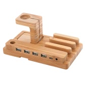 All in 1 Bamboo Charging Stand Holder 4 USB for Apple Watch iWatch 38mm 42mm for iPhone 6 6S 6 Plus 6S Plus Samsung Galaxy S6 S7 edge HTC Smartphone for iPad Tablets Pen Stand Eco-friendly Material Stylish Lightweight Portable Durable