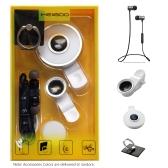 MEIIGOO S8 4 in1 Аксессуары Пакет BT Наушники + Линзы для зажимов на объективе + Кожаный свет + Кольцо подставки Случайный цвет