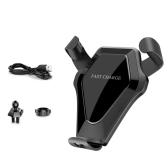 2-в-1 Дизайн Qi Стандартный автомобильный беспроводной зарядный стенд Gravity Car Mount Air Vent Телефон Держатель для подставки Быстрая беспроводная зарядная подставка для iPhone X / 8/8 Plus и Samsung Galaxy S8 / S8 + / S7 Edge / S7 / S6 Edge + / Примечание 5 / Примечание 8