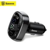Baseus S-09 TキャットヘッドBT MP3カーチャージャーデュアルUSBカーフォンチャージャー3.4AハンズフリーコールカーチャージャーデュアルUSBポートTFカードIOS Androidと互換性のあるカーチャージャー