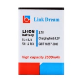 Link Dream 3.7V 2500mAh Mobile Phone Rechargeable Li-ion Battery Replacement for LG P970 / MS840 / L5 / E610 / E615 / E612 (BL-44JN)