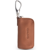 QIALINO Mini Genuine Leather Protective Bag for Airpods Earphone Charging Cable Portable Zippered Storage Case