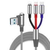 Зарядный кабель 3-в-1 USB к Micro USB + кабель для зарядки молнии типа C + Кабель для быстрой зарядки Адаптер для зарядки мобильных телефонов