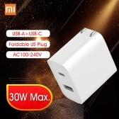 Carregador rápido Xiaomi USB 30 W 1A1C Dobrável EUA Plug Power Adapter Com USB-A USB-C Tomada Dobrável Home Viagens Adaptador Conversor de Parede Carregador Conector AC100-240V Para Telefone Tablet