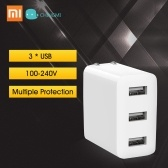 Xiaomi Mijia Power Adapter USB Charger 3 USB 2A Fast Charging US Plug Mini Portable Wall Travel Charger 100-240V For Phone Laptop Notebook 15W 100-240V