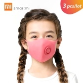 3pcs/lot Xiaomi Smartmi Anti-Pollution Face Mask For Kids Air Sport Block Respirators PM2.5 Haze Anti-haze Adjustable Ear Hanging 3D Design Comfortable with Ventilating Valve