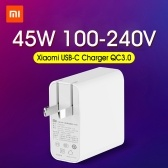 Xiaomi USB-C Charger 45W Adaptador de corriente con enchufe plegable de EE. UU. QC3.0 Mini cargador de viaje portátil PD2.0 de pared 100-240V para Macbook Pro Phone Tablet Notebook