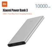 Xiaomi Mi Power Bank 3 10000mAh USB-C Two-way Quick Charge Mobile Phone Powerbank 18W MAX Traveling Charging Adapter for iPhone Samsung Huawei Xiaomi PLM12ZM