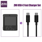 Xiaomi ZMI USB-C Fast Charger 65W With USB-C to USB-C Data Cable Fast Charging Power Adapter Foldable Plug For iPhone iPad MacBook Pro Xiaomi Notebook Air 100-240V HA712