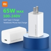 Xiaomi Mi GaN Charger 65W Type-C Wall Charger Travel Charger For Mi10 Pro S20+ S20 ultra Mi Notebook Macbook Air MateBook iPhone 11 Pro Max 100-240V