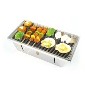 ZaoFeng Folding Barbecue Grill 42.5x21.5x2cm Portable Stainless Steel Outdoor Barbecue Plate Detachable and Washable Camping Cooking Tools