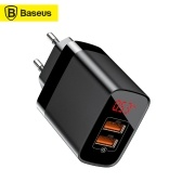 Xiaomi Baseus 2 USB Travel Charger Mirror Lake Dual QC Smart Digital Display 18 W Fast Charging Charger Adapter for FCP AFC QC3.0 Quick Charge Portable Travel Home Office Universal for Smartphones EU Plug