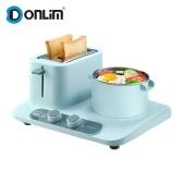 Donlim Тостер 3-в-1 Электрическая станция для завтрака Завтрака с тостером, духовкой / пароваркой / сковородой DL-3405 220V