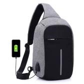 Anti-theft Sling torba na ramię z zewnętrzną opłatą USB Crossbody Piersi Torby Plecak na kolarstwo turystyczne na zewnątrz Podróże Mężczyźni Kobiety Dorywczo Odblaskowy Stripe Black