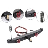 RC Car Metal Rear Bumper with 2 LED Light Antenna Tail Hook for TRX-4 RC4WD Axial SCX10 Car