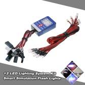 Luci 12 Kit sistema di illuminazione a LED di sterzo freni intelligenti di simulazione Flash per 1/10 Modellini RC auto Yokomo Tamiya HSP HPI ASSIALE RC4WD Traxxas