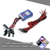 12 Sistema de iluminación LED de dirección Juego de frenos inteligentes simulación luces del flash de 1/10 Escala Modelos RC Car Yokomo Tamiya HSP HPI AXIAL RC4WD Traxxas