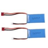 2pcs RC Li-Po Battery 7.4V 1500mAh 25C 2S Rechargeable with T Plug