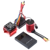 F540 Brushless Motor 3000KV RC Crawler Motor 4 Poles with Heatsink and 60A Brushless ESC Electric Speed Controller T Plug and Programming Card for 1/10 RC Car