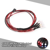 4 luces LED Kit de 2 Blanco 2 Red de 1/10 1/8 Traxxas HSP Redcat RC4WD Tamiya axial SCX10 D90 HPI RC Car