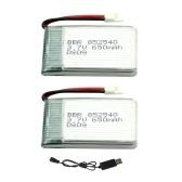 3.7V 650mAh Batería Lipo 2pcs y Cable de carga USB