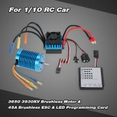 3650 3930KV/4P Brushless Motor & 45A Brushless ESC & LED Programming Card Combo Set for 1/10 RC Car