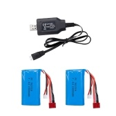2Pcs 7.4V 1500mAh Li-Po Battery with T plug and USB Charger Cable for Wltoys 12401 12402 12403 12404 12423 12428/FEIYUE FY-03/Skytech TKKJ H101 H103 H105 RC Boat